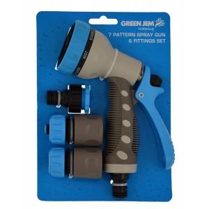 Green Jem 7-Pattern Spray Gun & Fittings Set