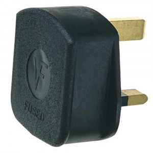 13A Plug  - Rubber - Black