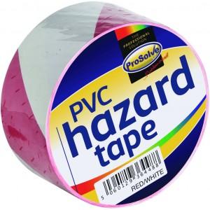 "Prosolve PVC Self Adhesive 2"" Hazard Tape Red/White"