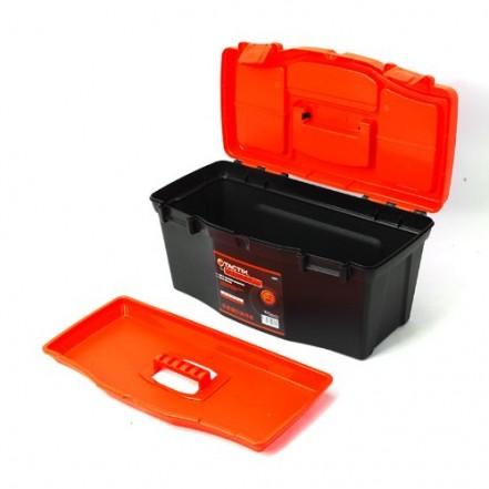 """Tactix Plastic Tool Box - 50cm/19""""- Black/Orange"""