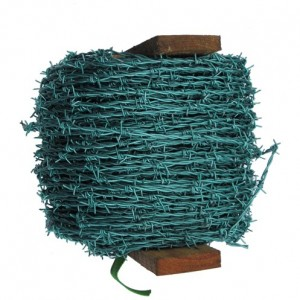 Green Galvanised Barbed Wire - 200 Metre Roll