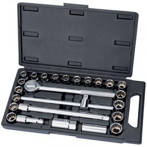 "Draper 1/2"" Sq. Drive MM/AF Combined Socket Set (25 Pieces)"