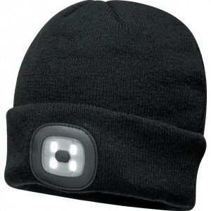 Portwest Black Beanie Hat With LED