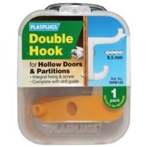 Plasplugs Hollow Door Hook White