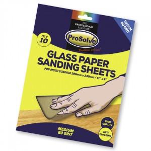 """Prosolve Glass Paper Sanding Sheets 9"""" x 11"""" Pk.10 80 Grit"""