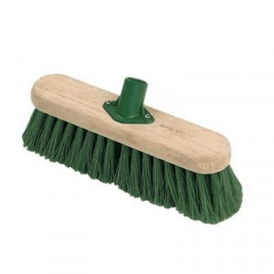 Hillbrush Industrial Stiff 305mm Sweeping Broom with Socket Green