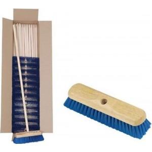 "Hillbrush PVC Soft Brush 10.1/2"" - Blue - c/w Handle"