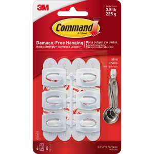 Command Mini Hook with Adhesive Strips White