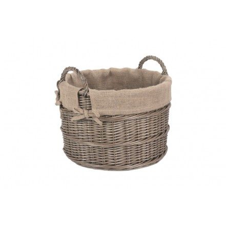 Willow Round Hessian Lined Log Basket