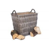 Willow Large Rectangular Log Basket Grey