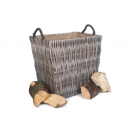 Willow Large Rectangular Log Basket Grey