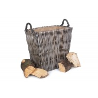 Willow Small Grey Rectangular Log Basket