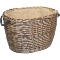 Willow Large Antique Wash Oval Log Basket