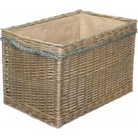 Willow Large Rectangular Rope Handled Log Basket