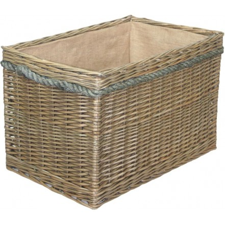 Willow Large Rectangular Rope Handled Log Basket