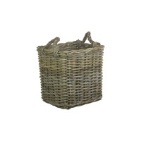 Willow Small Square Grey Rattan Log Basket