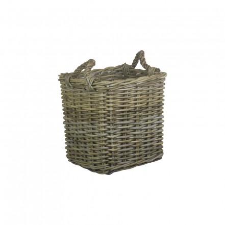 Willow Small Square Grey Rattan Log Basket