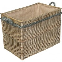 Willow Medium Rectangular Rope Handled Log Basket