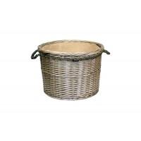 Willow Large Antique Wash Round Rope Handled Log Basket