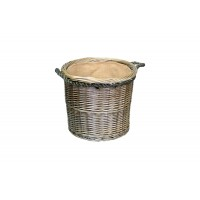 Willow Medium Antique Wash Round Rope Handled Log Basket