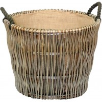 Willow Round Grey Log Basket 500 x 460mm