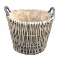 Willow Round Grey Log Basket 420 x 380mm