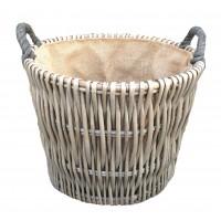 Willow Round Grey Log Basket 420 x 380mm