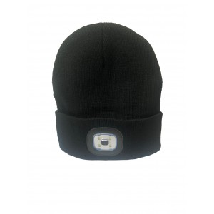 Gwaza Beanie Hat Black with LED Headlight Rechargable