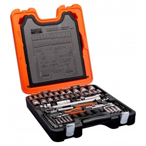 """Bahco Socket Set 94-Piece 1/4"""" & 1/2"""" Square Drive Combination Spanner"""