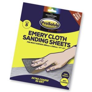 Prosolve Emery Cloth Sanding Sheets Pack of 5