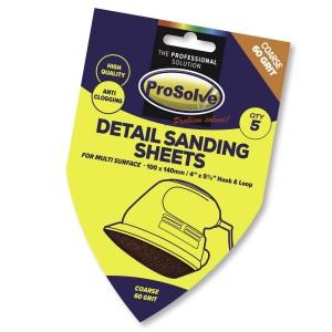Prosolve Detail Sanding Sheets 100 x 40mm Hook & Loop Pk 5